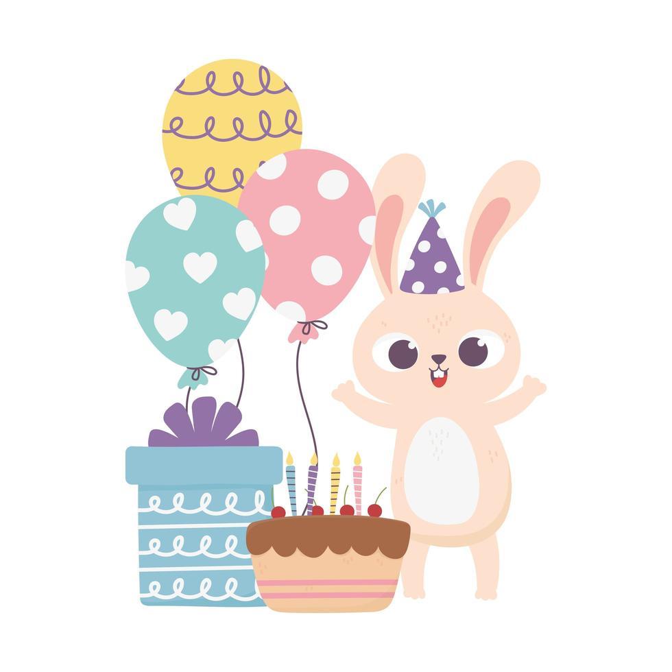 felice giorno, coniglio con cappello da festa e palloncini regalo torta vettore
