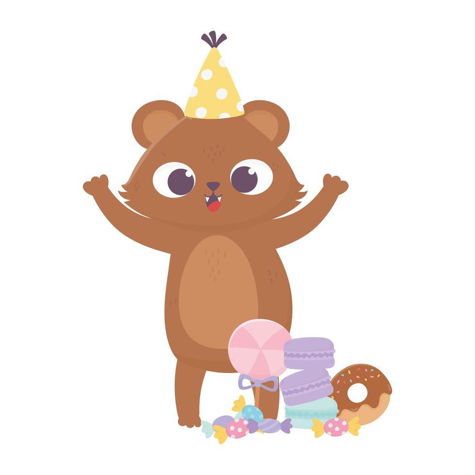 buon giorno, orsetto con cappello caramelle ciambelle biscotti e caramelle vettore