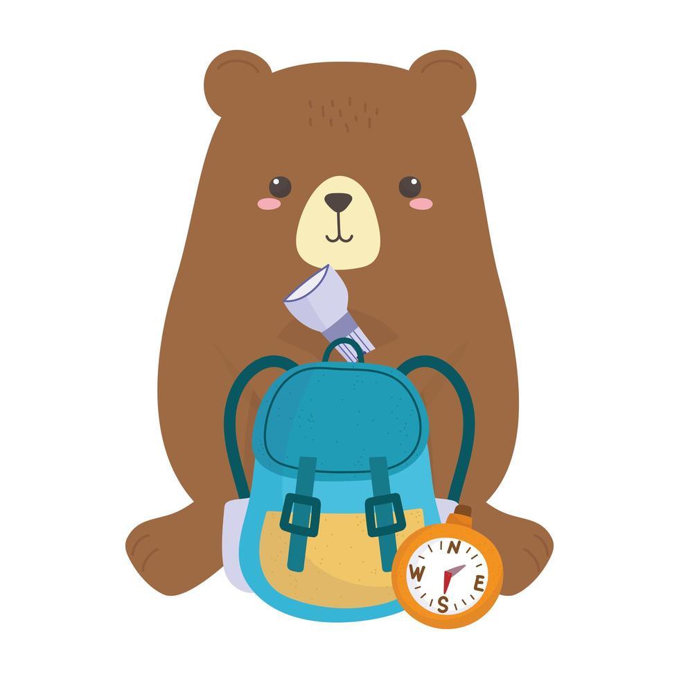 campeggio simpatico orso con bussola zaino lanterna cartoon vettore