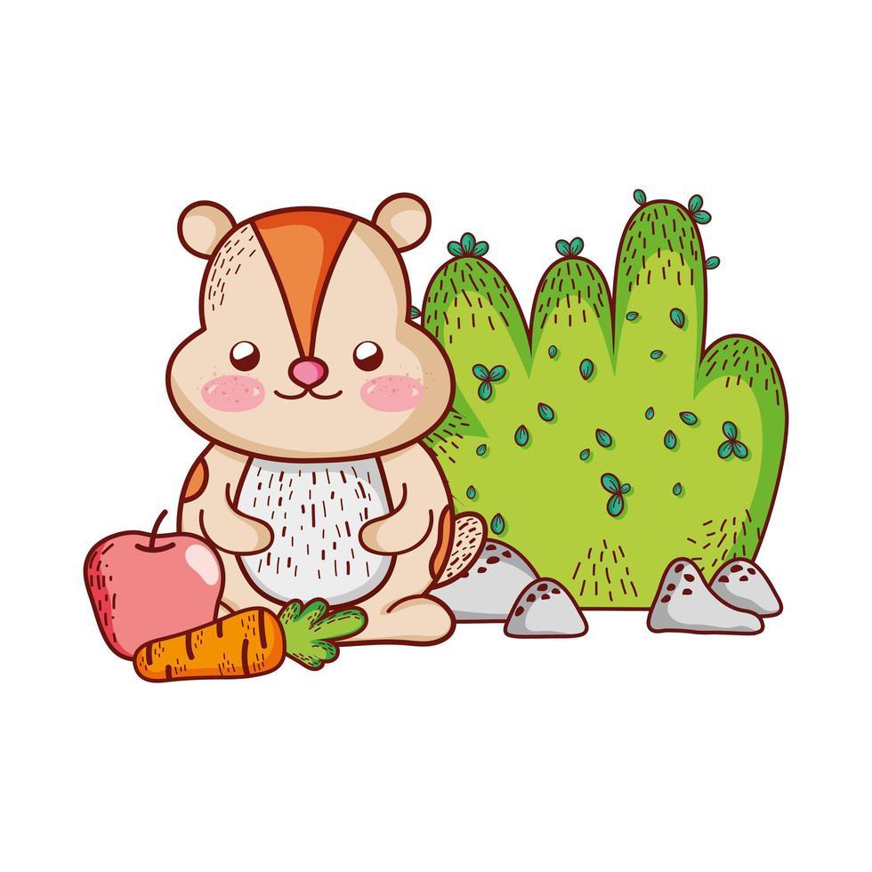 simpatici animali, castoro con cartone animato di cespuglio di mele carote vettore