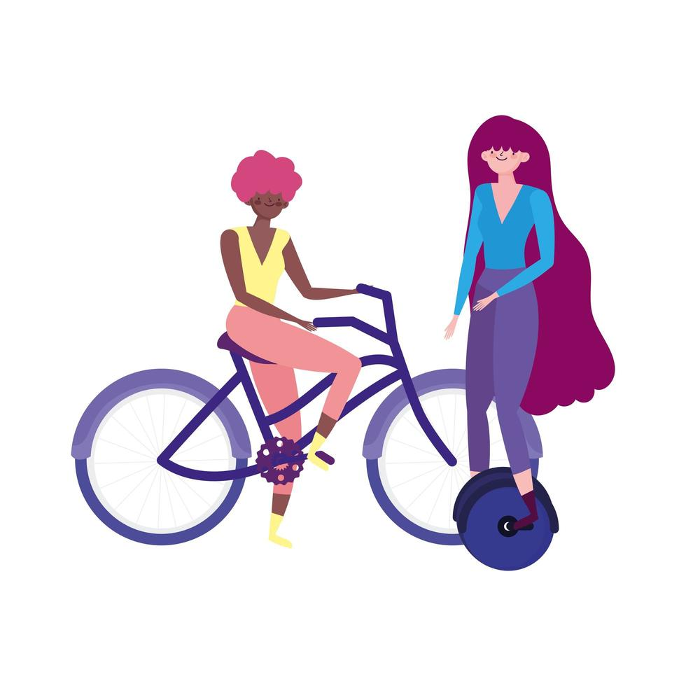 trasporto ecologico, giovani donne in sella a monociclo e bici vettore