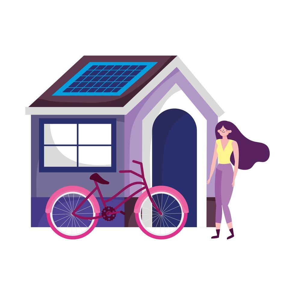 trasporto ecologico, giovane donna con bici, casa con pannello solare energetico sostenibile vettore
