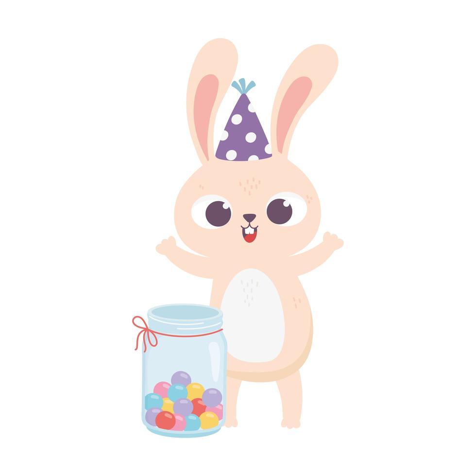 giorno felice, coniglio con cappello da festa e barattolo pieno di caramelle vettore