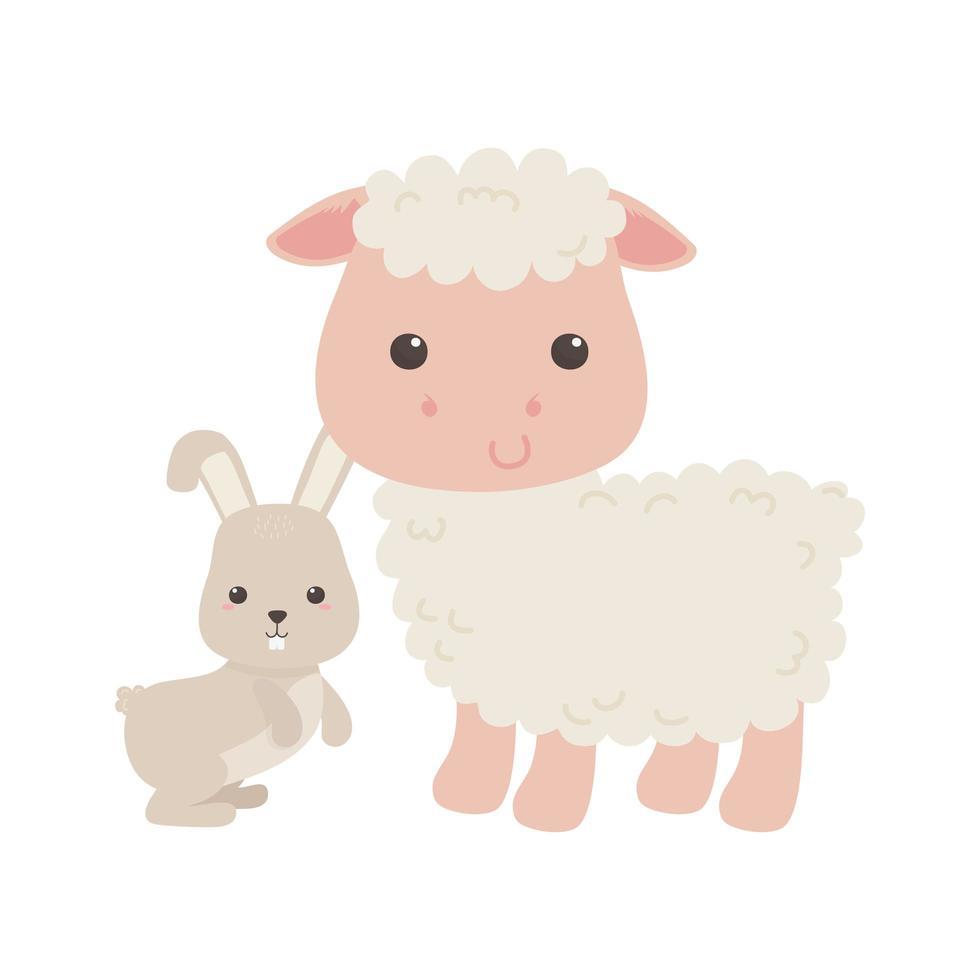 disegno isolato cartone animato carino pecore e coniglio piccolo vettore