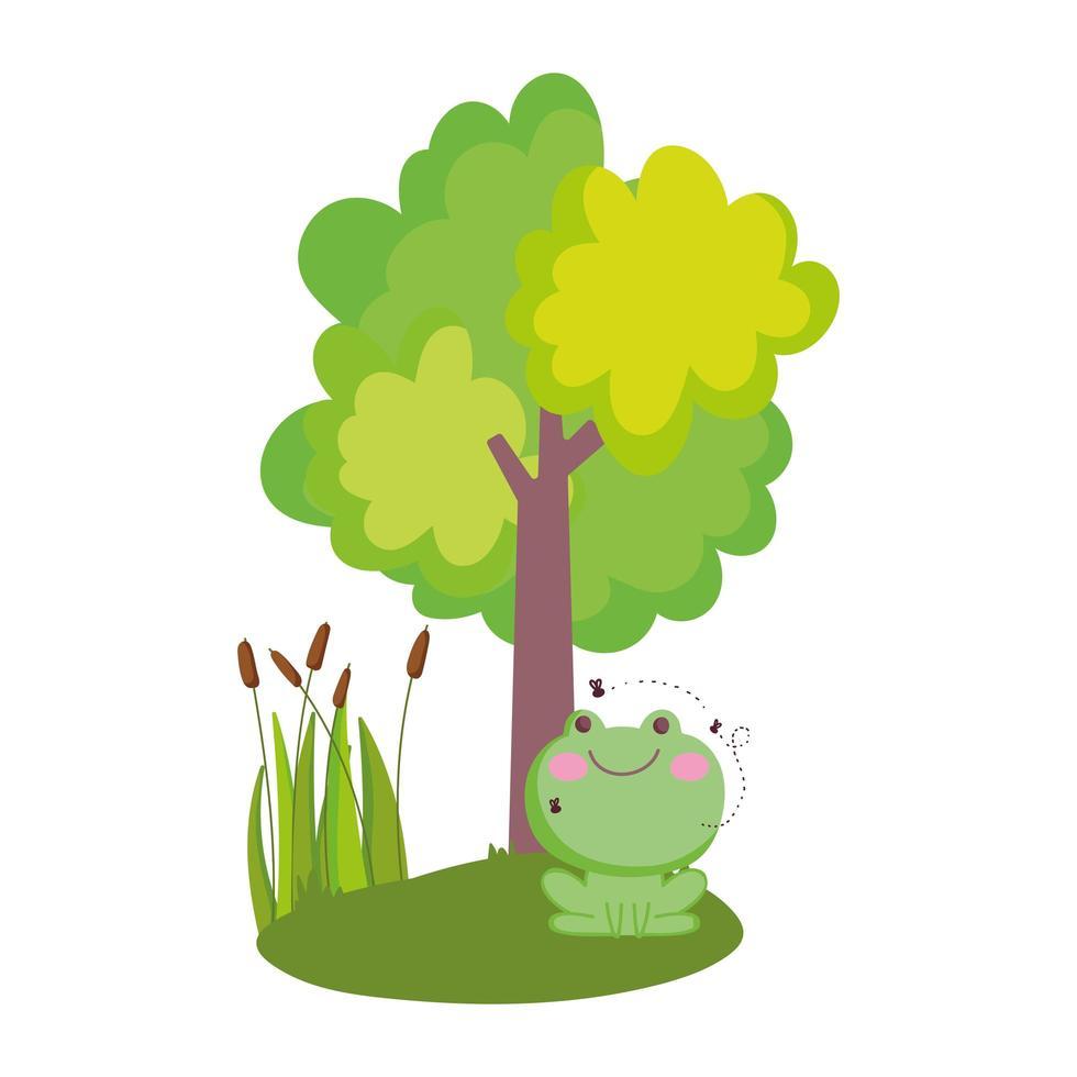 animali da fattoria rana con mosche che volano albero fogliame natura cartone animato vettore