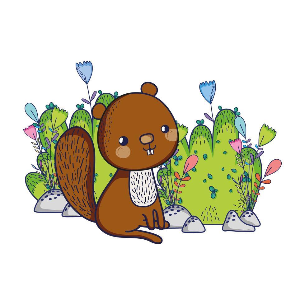 simpatici animali, scoiattolo fiori fogliame cespuglio natura vettore