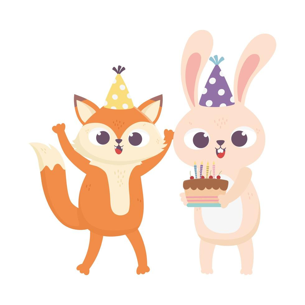 giorno felice, coniglio volpe con torta e cappello da festa vettore