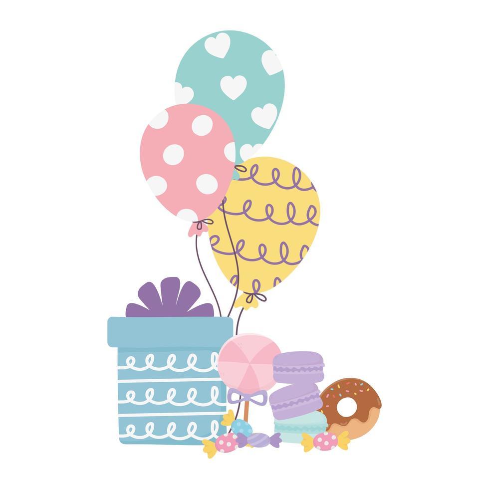 felice giorno, palloncini regalo ciambella biscotti al caramello cartone animato vettore
