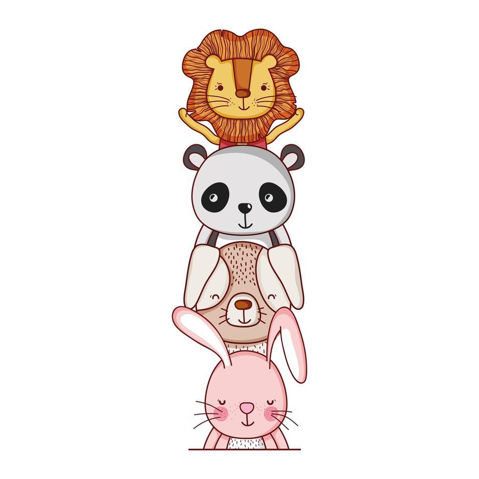 simpatici animali, cane coniglio leone cartone animato e panda vettore