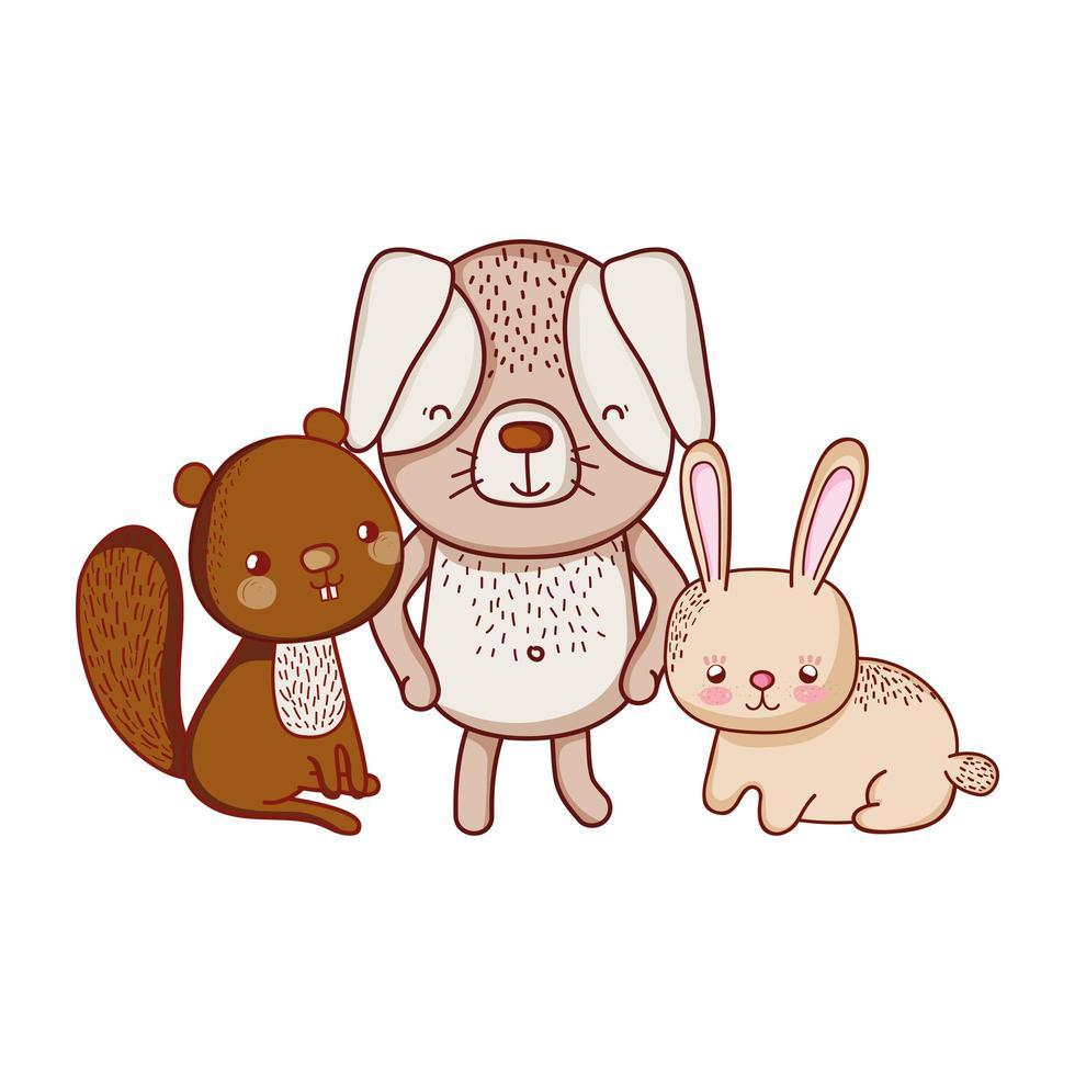 simpatici animali, coniglio scoiattolo e cartone animato di erba vettore