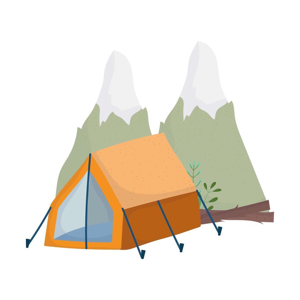tenda da campeggio e montagne natura design isolato vettore