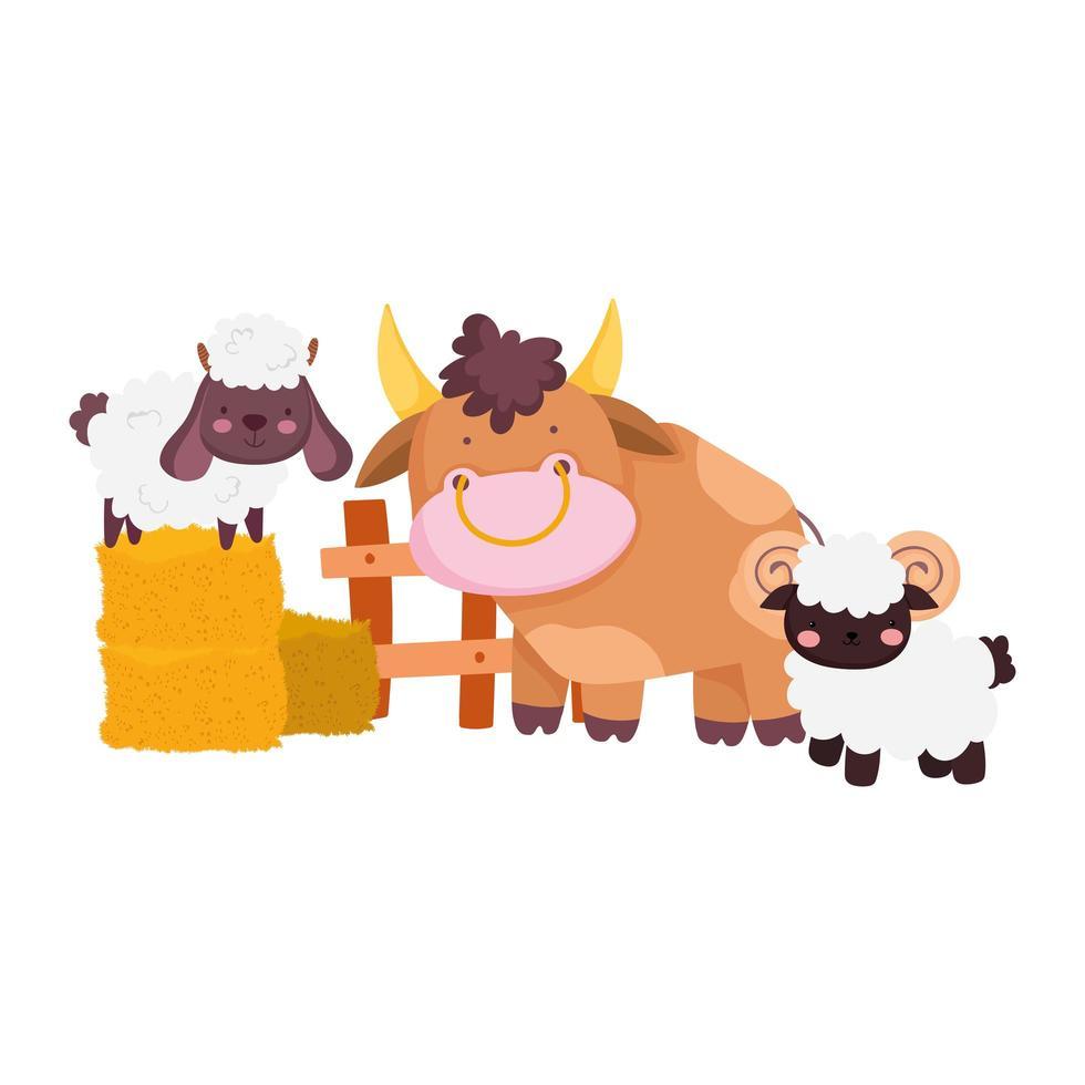 animali da fattoria toro capra pecora nel fieno cartone animato recinto di legno vettore
