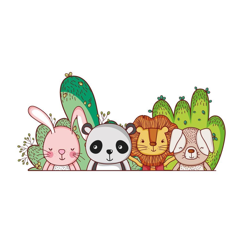 simpatici animali, piccolo leone coniglio panda cane cartone animato vettore