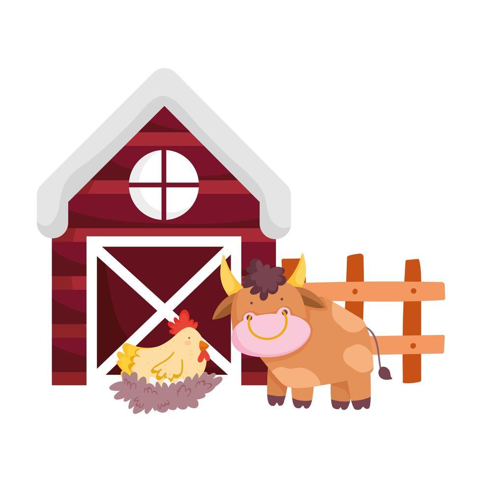 animali da fattoria toro gallina nel nido staccionata in legno fienile cartone animato vettore