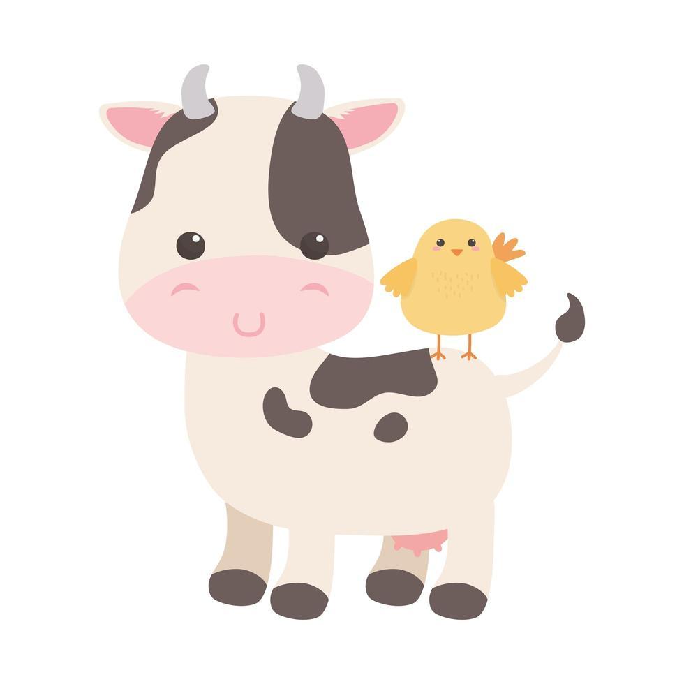 carino piccolo pollo in disegno isolato cartone animato animale mucca vettore