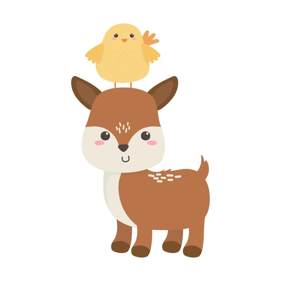 carino piccolo cervo e pollo cartone animato disegno isolato animale vettore