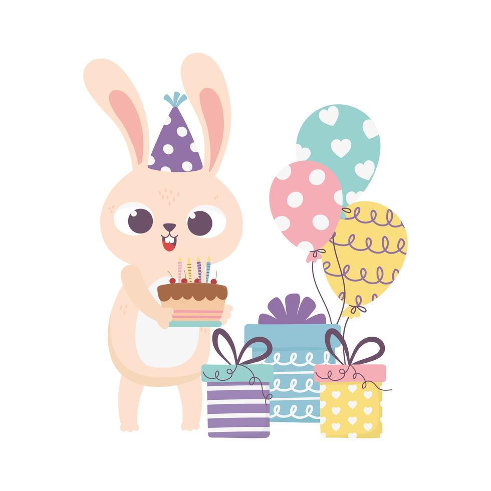 felice giorno, coniglio con scatole regalo torta cappello da festa e palloncini vettore