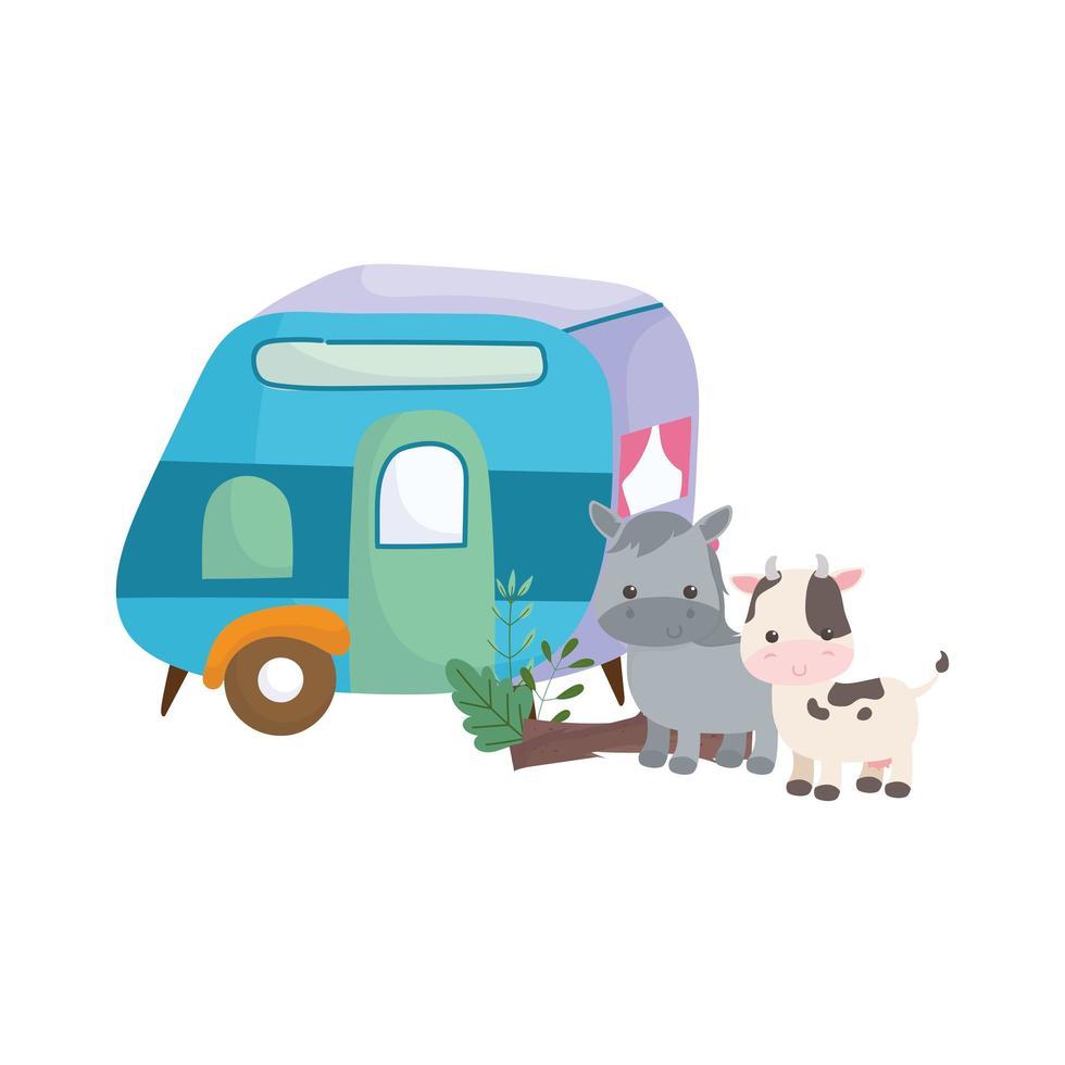 rimorchio da campeggio e simpatici animali dei cartoni animati di mucca cavallo vettore