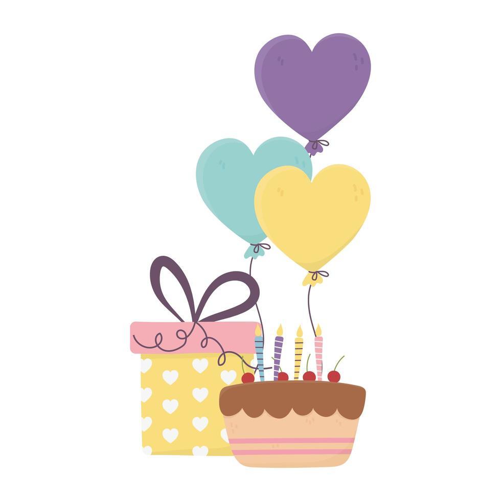 felice giorno, torta con candele regalo e palloncini a forma di cuori vettore