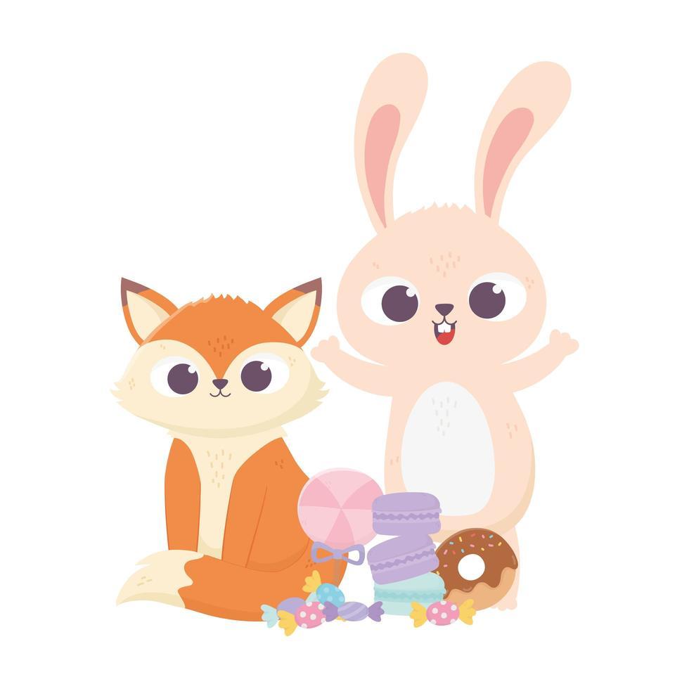 felice giorno, piccola volpe e coniglio con il fumetto di biscotti al caramello ciambella vettore