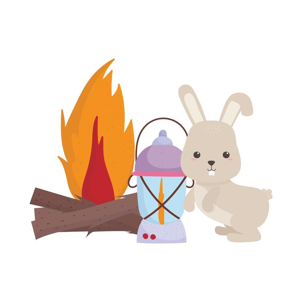 Camping carino coniglio lanterna falò fumetto icona isolato design vettore