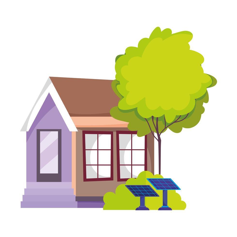 casa eco friendly pannello solare energia sostenibile albero isolato icona vettore