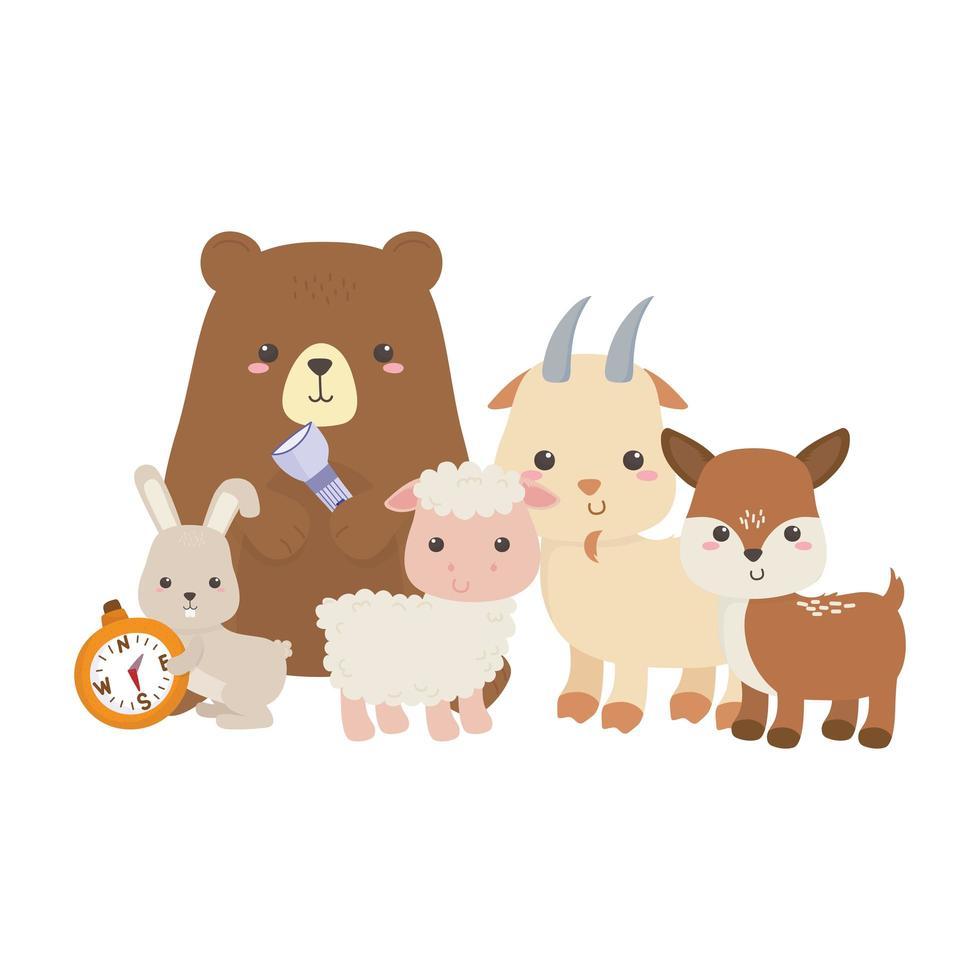 campeggio carino orso pecora capra cervo e coniglio con design isolato bussola vettore