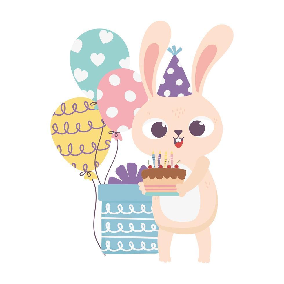 giorno felice, coniglio con torta cappello da festa e palloncini vettore