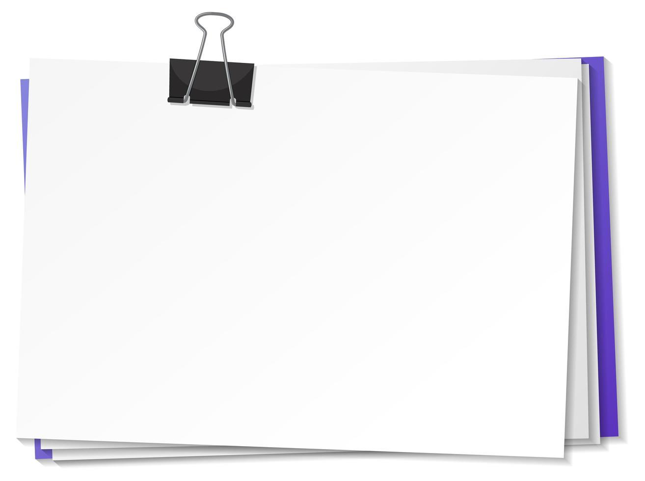 documenti in bianco e modello di clip legante vettore