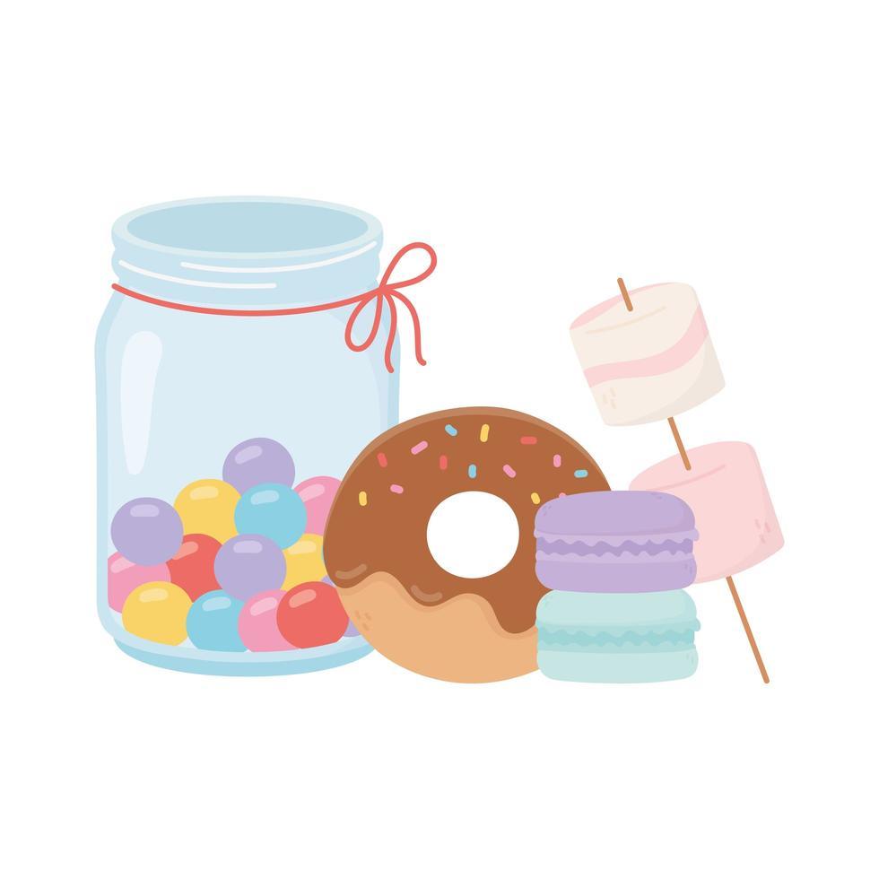 felice giorno, ciambella di gumball amaretti caramelle marshmallow cartone animato vettore
