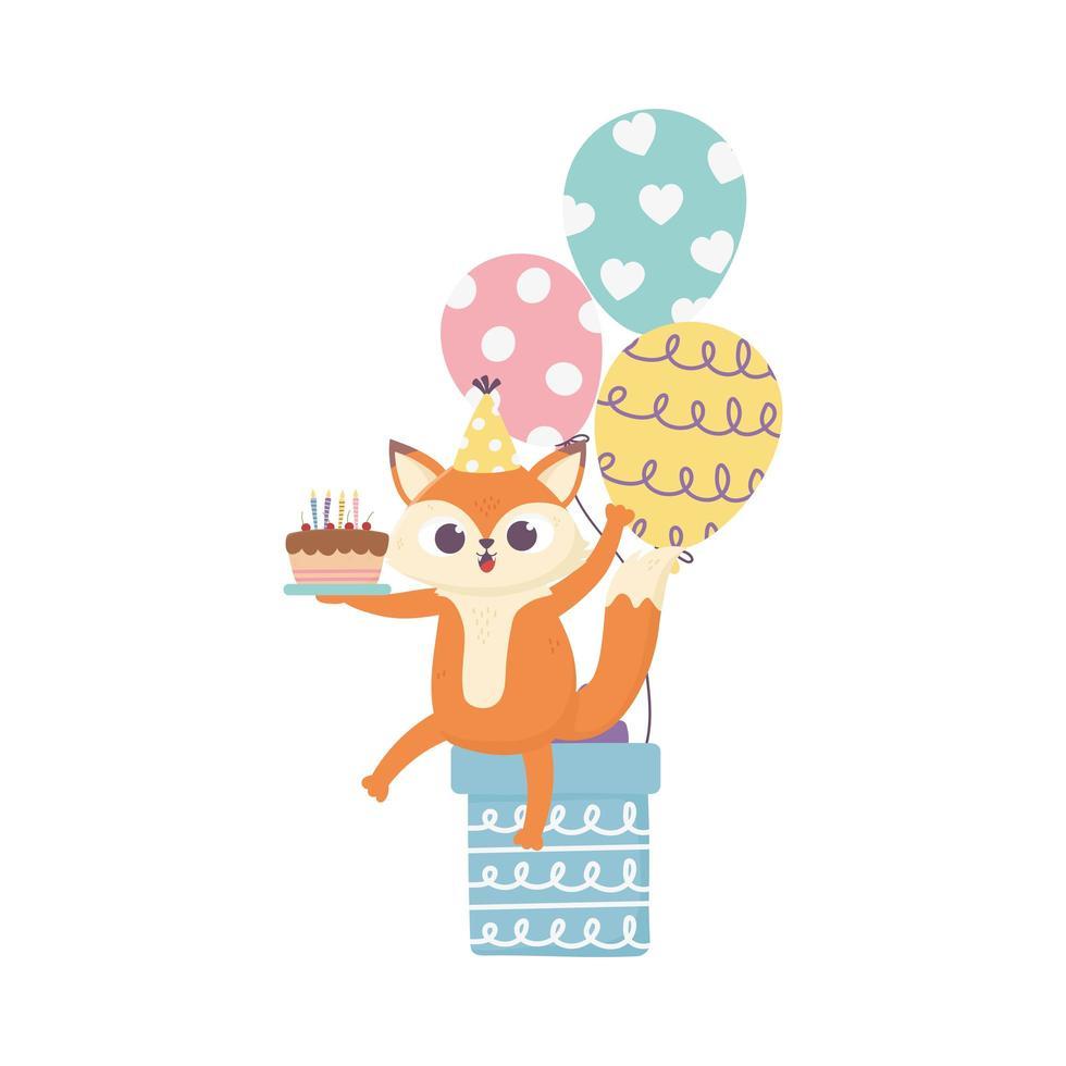giorno felice, piccola volpe seduta sul regalo con gagliardetti di palloncini torta vettore