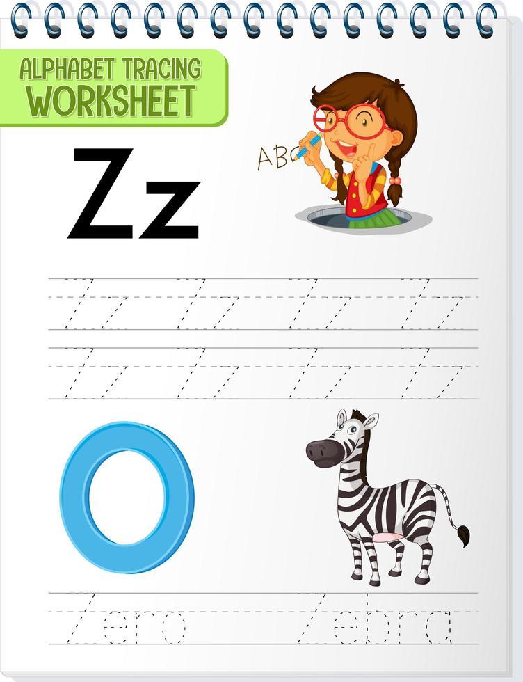 foglio di lavoro per tracciare l'alfabeto con le lettere ze z vettore