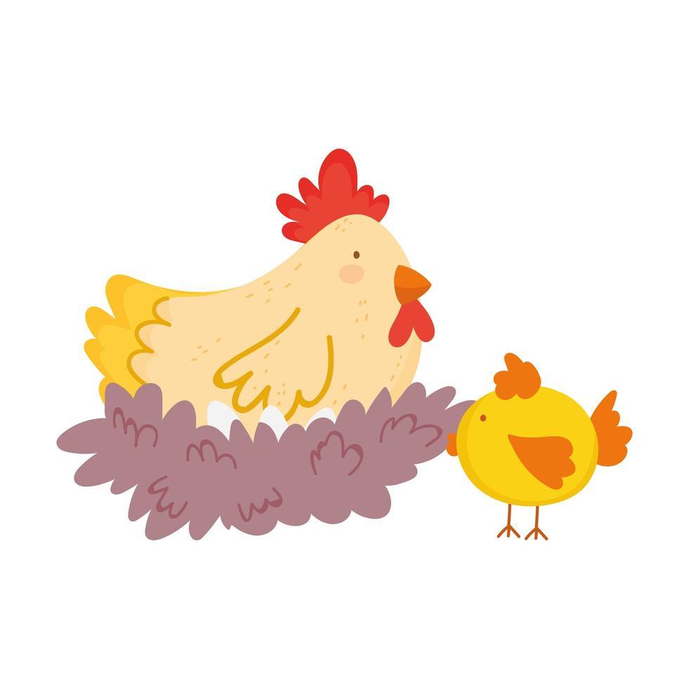 animali da fattoria gallina nel nido cartone animato di pollo vettore