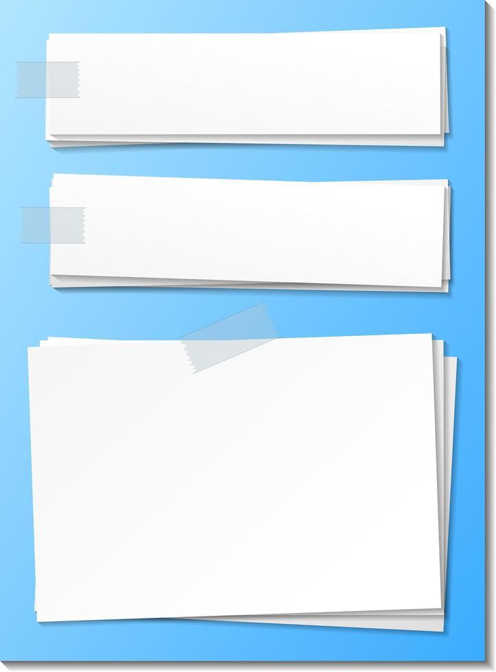 modello di nota di carta vuoto bastone con nastro adesivo vettore