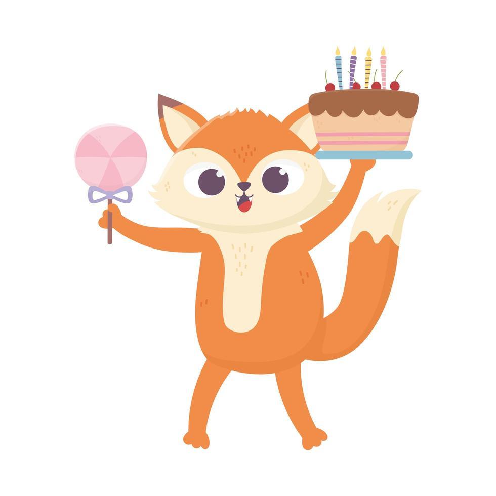 buon giorno, piccola volpe con torta e caramelle in stick vettore