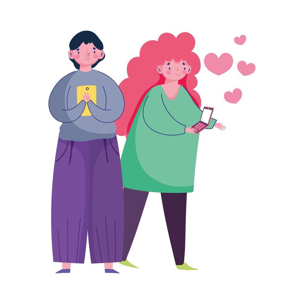 persone e smartphone, coppia utilizzando cellulare e donna amano i cuori dei cartoni animati vettore