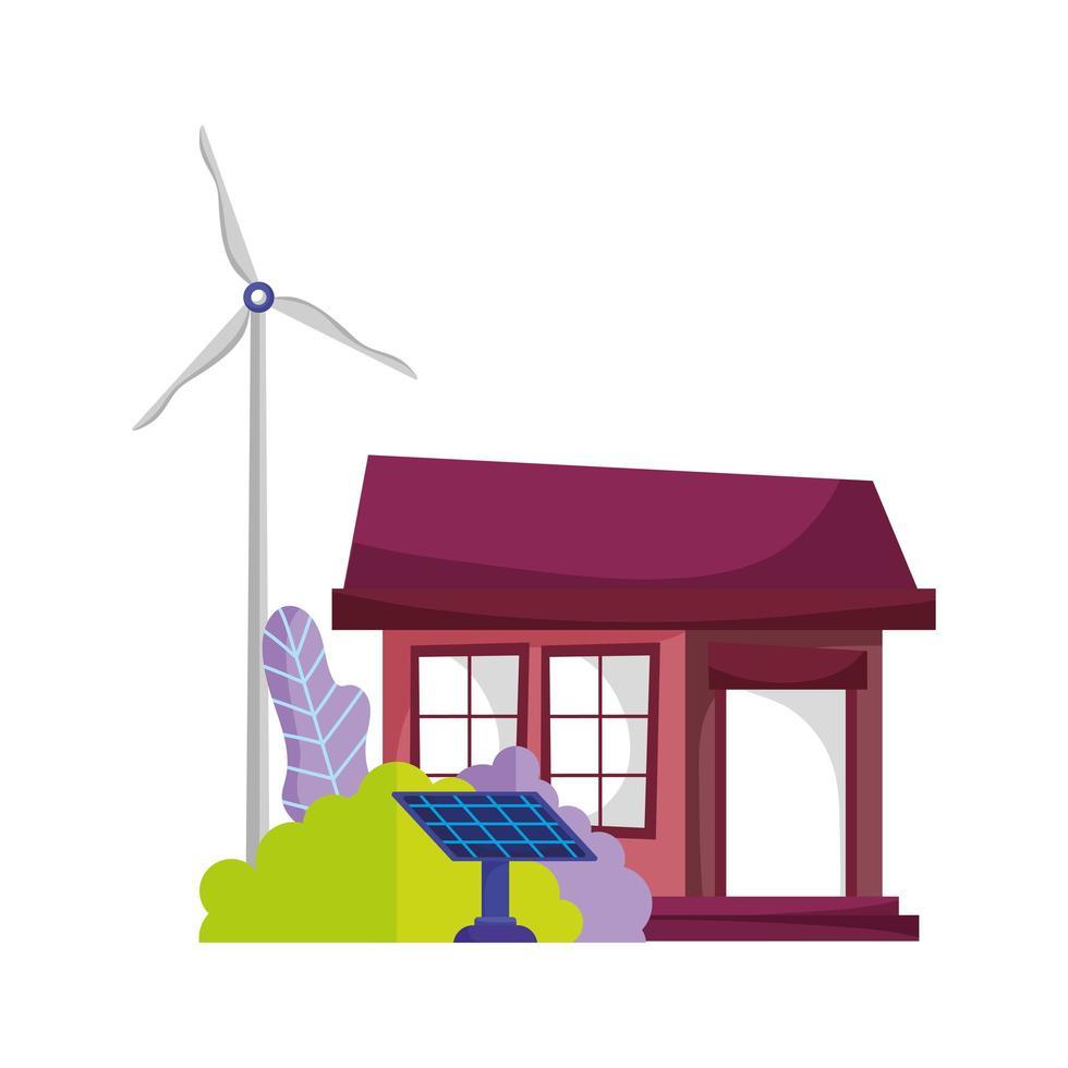 eco friendly house pannello solare mulino a vento energia sostenibile albero icona isolato vettore