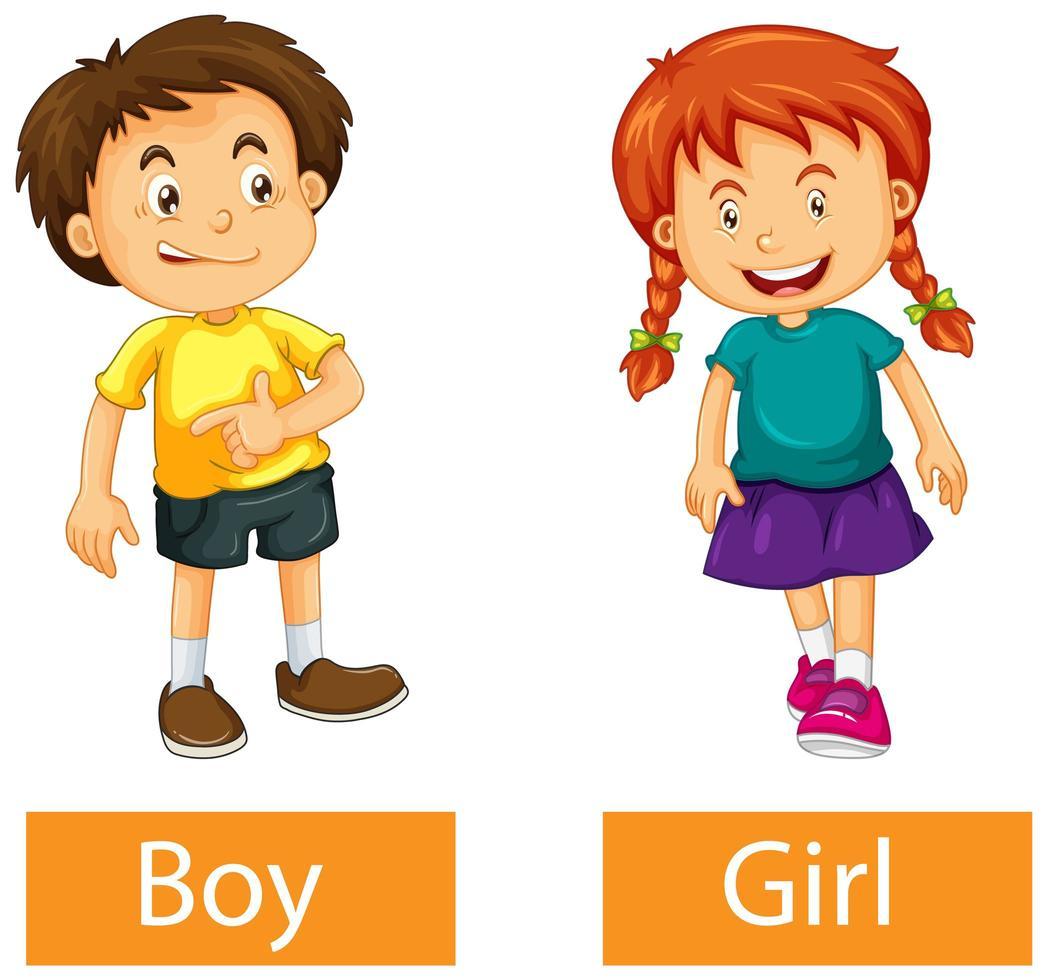 parole di aggettivo opposto con ragazzo e ragazza su sfondo bianco vettore
