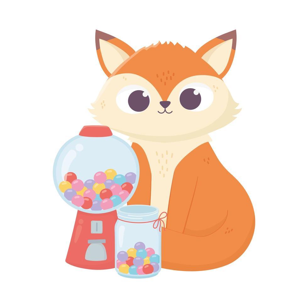 giorno felice, piccola volpe seduta con barattolo pieno di caramelle dolci vettore