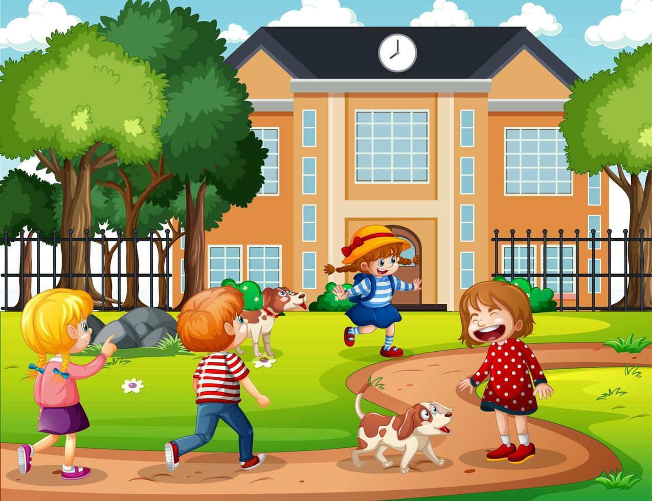 scena all'aperto con molti bambini che giocano davanti alla scuola vettore