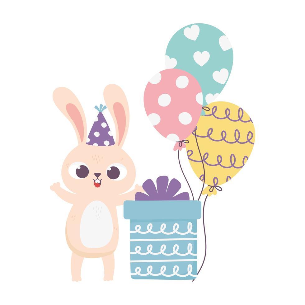 buon giorno, cappello da festa di coniglio e palloncini con scatola regalo vettore