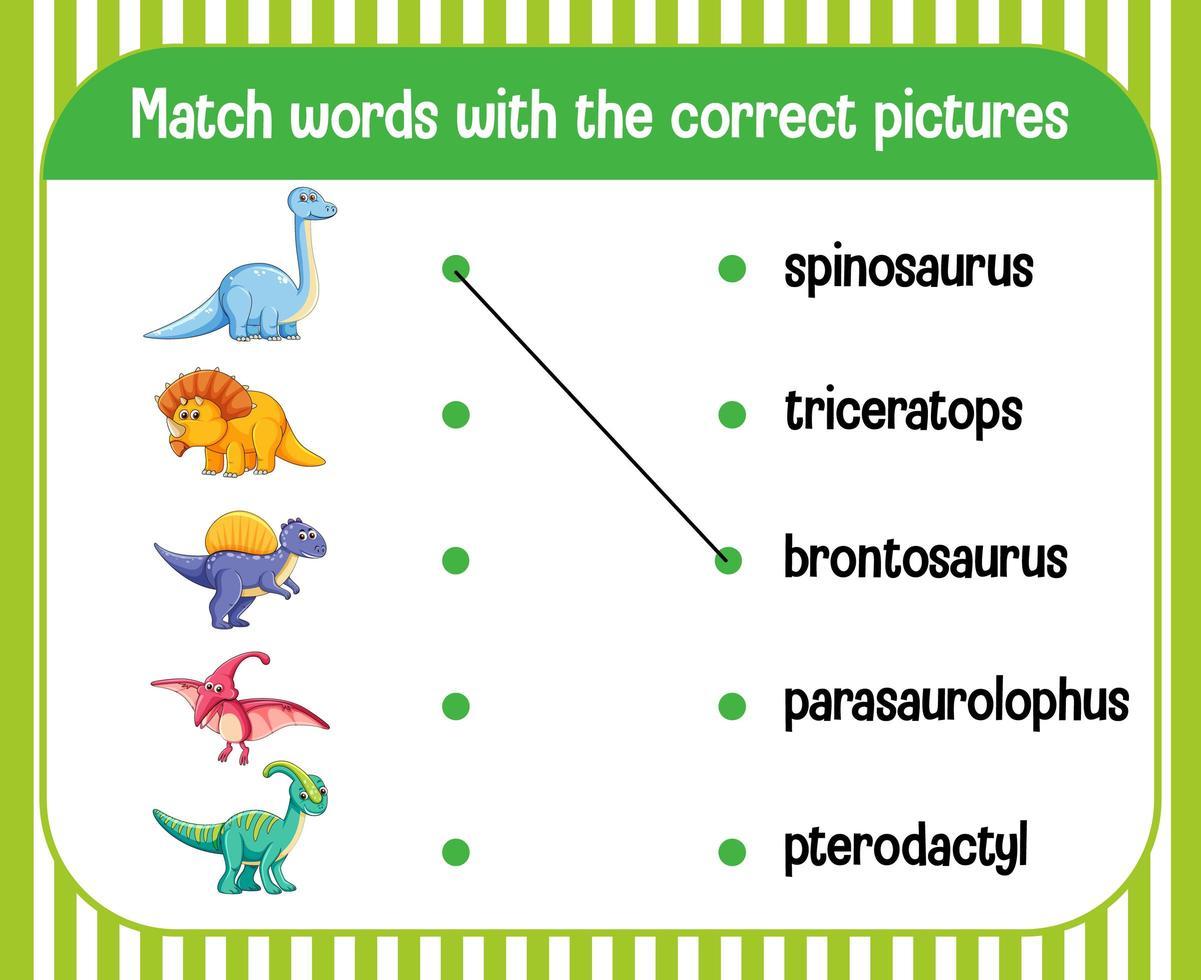 parola per immagine corrispondente al tema del dinosauro del foglio di lavoro vettore