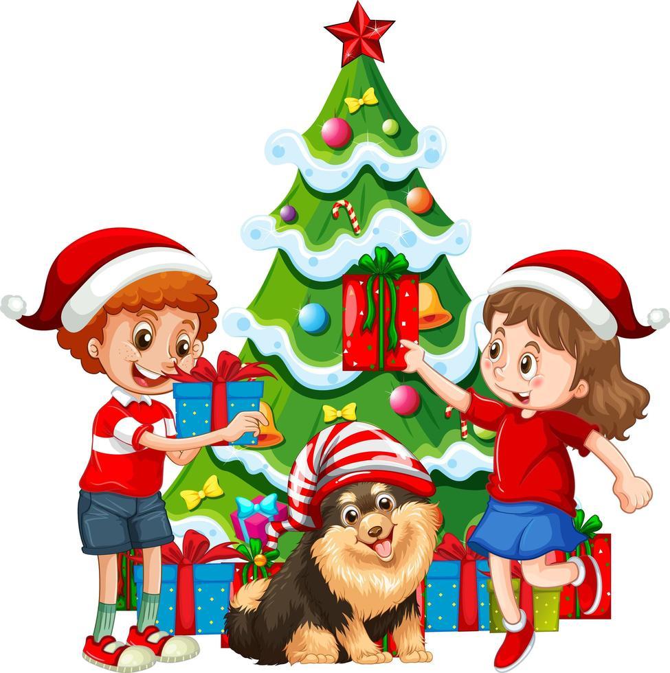 gruppo di bambini con il loro cane indossare personaggio dei cartoni animati di Natale costume su sfondo bianco vettore