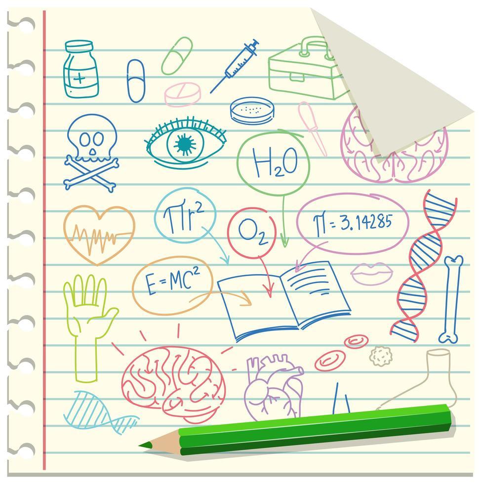 set di elemento di scienza medica doodle su carta vettore
