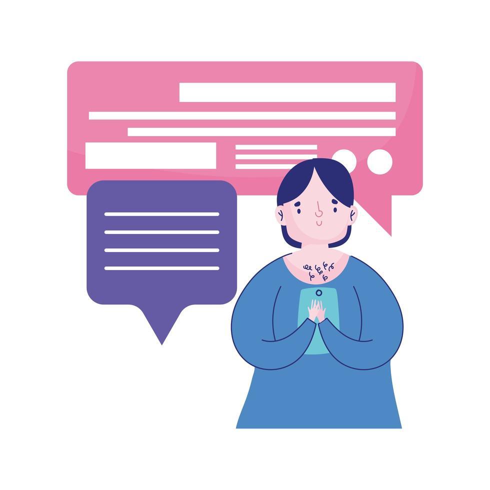 persone e smartphone, giovane che utilizza il fumetto del messaggio di amore in chat mobile vettore