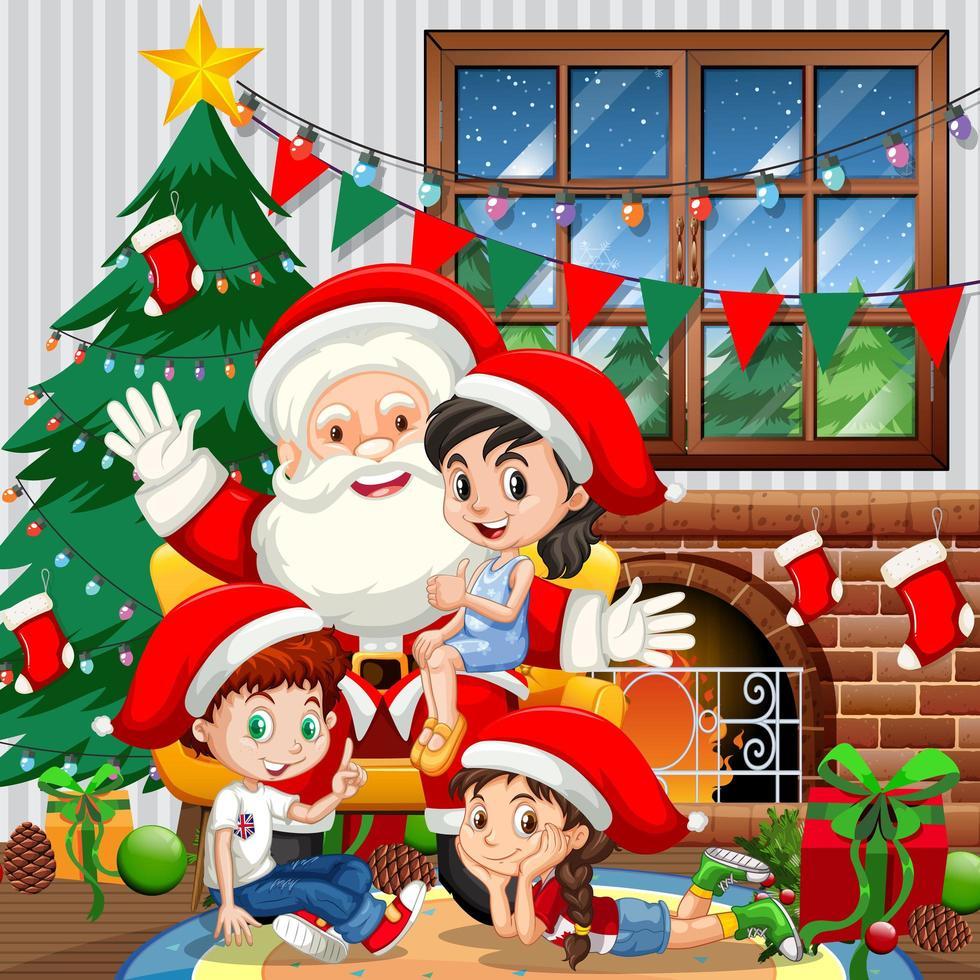 Babbo Natale con molti bambini nella scena della stanza vettore