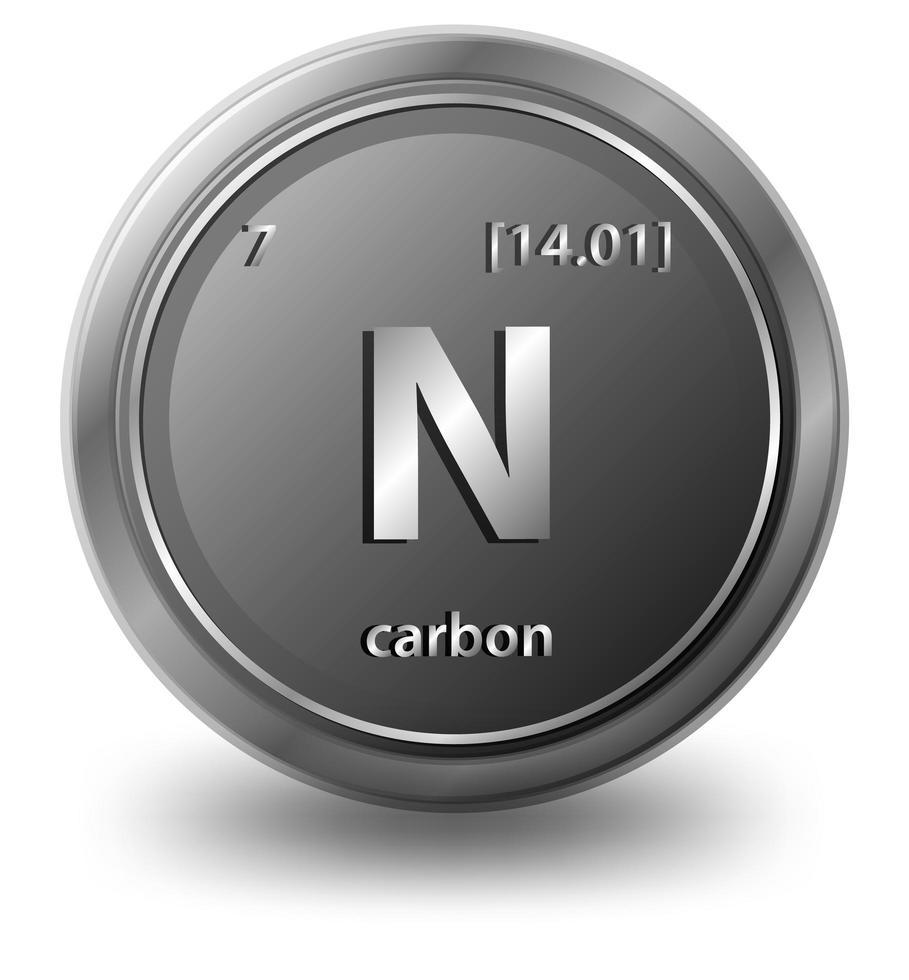 elemento chimico del carbonio. simbolo chimico con numero atomico e massa atomica. vettore