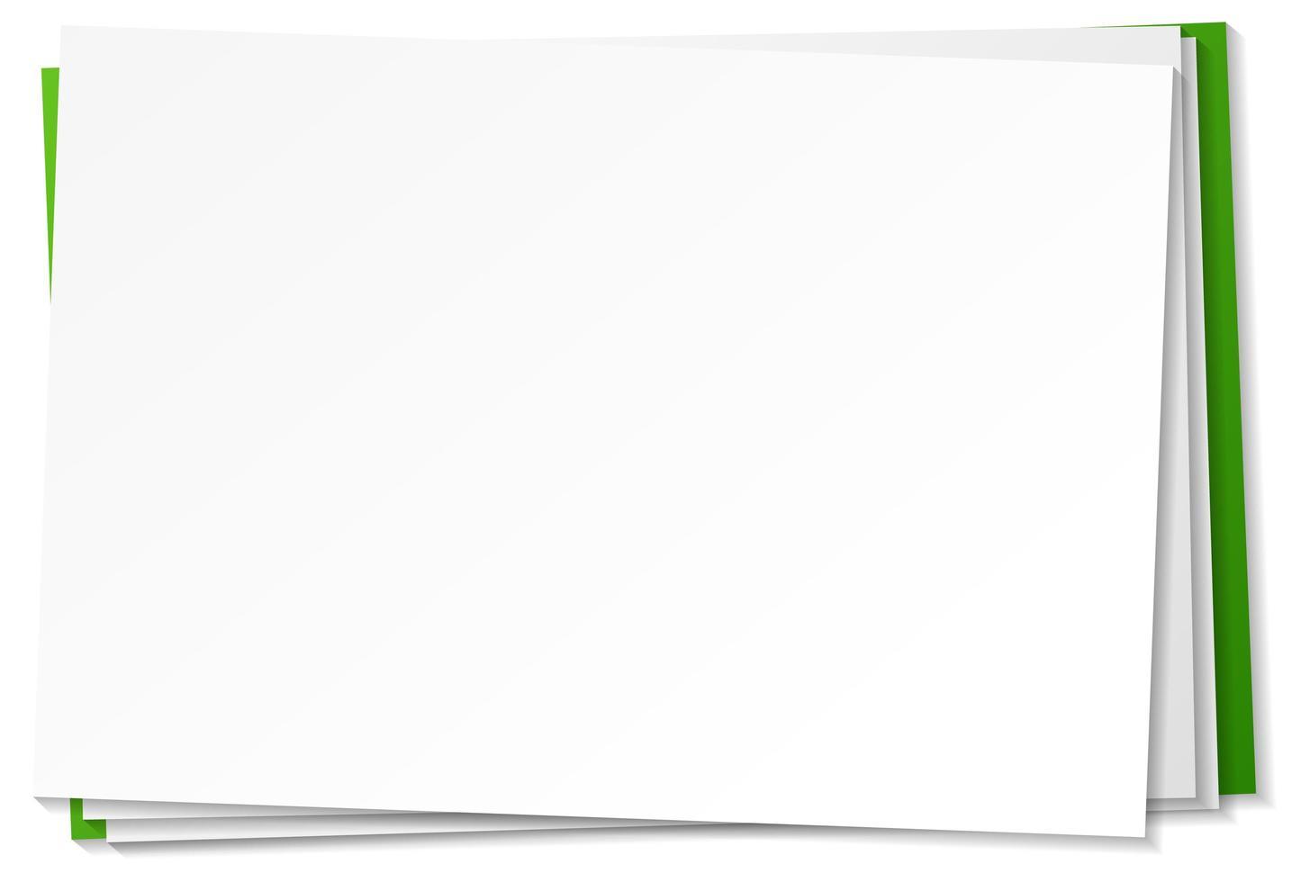 modello di nota di carta bianca su sfondo bianco vettore