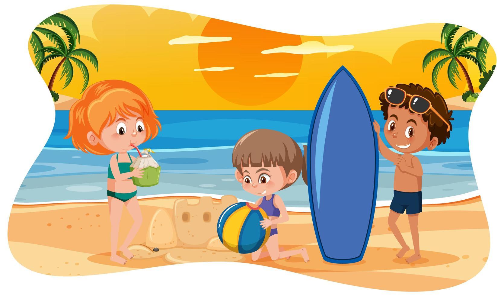bambini felici in spiaggia vettore