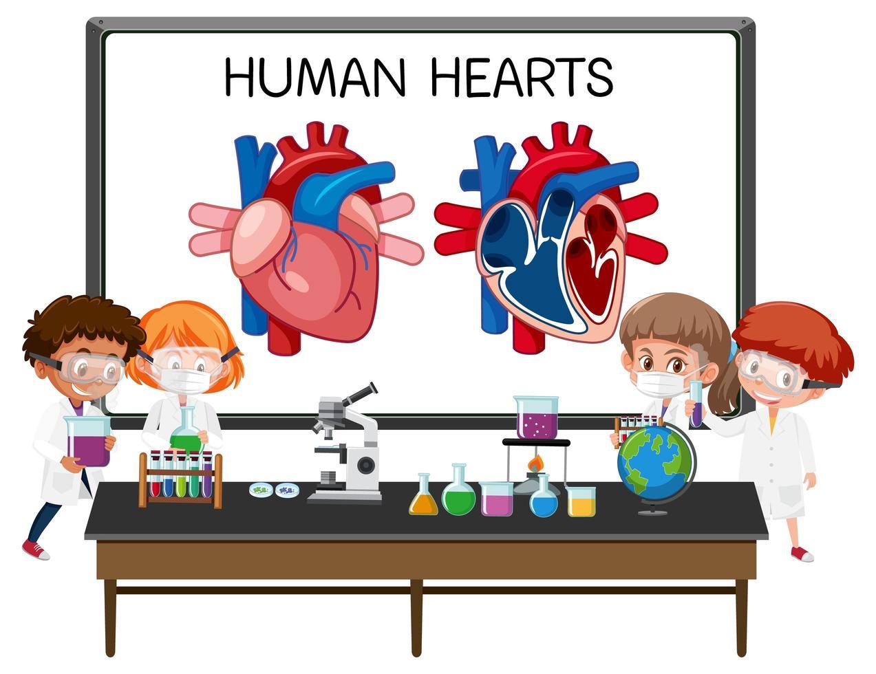 poster informativo del diagramma del cuore umano vettore